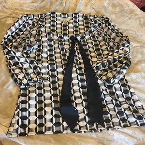 Loft Black and White blouse - tie / medium